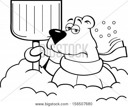 Black and white illustration of a polar bear holding a snow shovel.