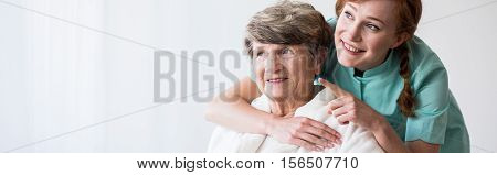 Caregiver And Older Happy Woman