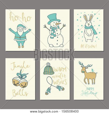 Christmas and New Year Cards Collection. Winter Holiday cards and Posters Templates Set. Also can be used as Congratulations Invitations Tags.