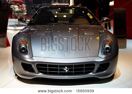 PARIS, FRANCE - SEPTEMBER 30: Paris Motor Show on September 30, 2010 in Paris, showing Ferrari 599 GTB Fiorano, front view