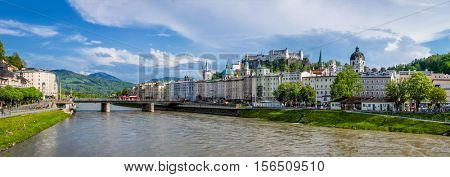 SALZBURG, AUSTRIA - MAY 1, 2012: Panorama of Salzburg Old Town & Hohensalzburg Castle on Festungsberg hill over Salzach river. Salzburg's Altstadt is internationally renowned for baroque architecture