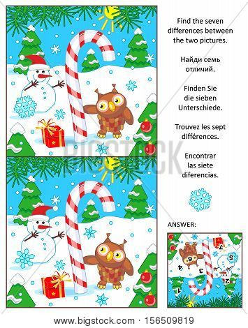 New Year or Christmas visual puzzle: Find the seven differences between the two pictures with candy cane, snowman and owl. Answer included.