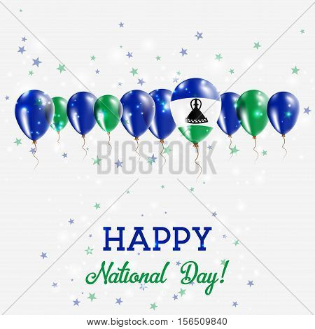 Lesotho Independence Day Sparkling Patriotic Poster. Happy Independence Day Card With Lesotho Flags,