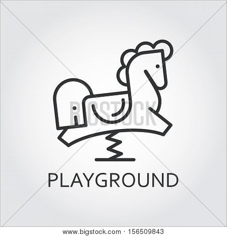 Line simplicity icon of childrens rocking horse drawn in outline style. Playground concept. Black linear logo for websites, mobile apps and other design needs. Vector contour graphics