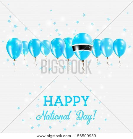 Botswana Independence Day Sparkling Patriotic Poster. Happy Independence Day Card With Botswana Flag