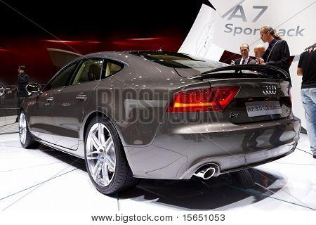PARIS, FRANCE - SEPTEMBER 30: Paris Motor Show on September 30, 2010 in Paris, showing Audi A7 Sportback, rear view