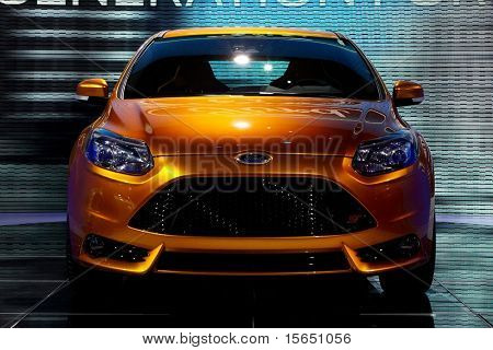 PARIS, FRANCE - SEPTEMBER 30: Paris Motor Show on September 30, 2010 in Paris, showing Ford Focus ST, front view