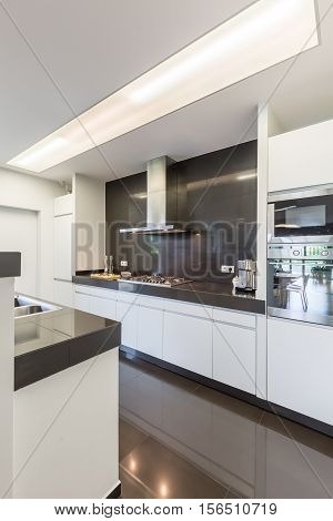 Kitchen With Steely Canopy