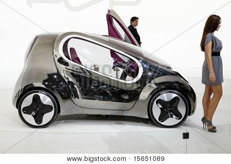PARIS, FRANCE - SEPTEMBER 30: Paris Motor Show on September 30, 2010 in Paris, showing Kia Electric Pop Concept, side view