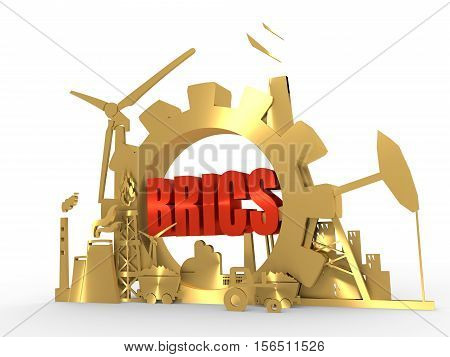 Energy and Power icons set with BRICS text. Sustainable energy generation and heavy industry. 3D rendering. Golden material