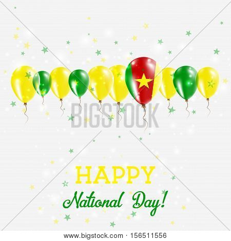 Cameroon Independence Day Sparkling Patriotic Poster. Happy Independence Day Card With Cameroon Flag