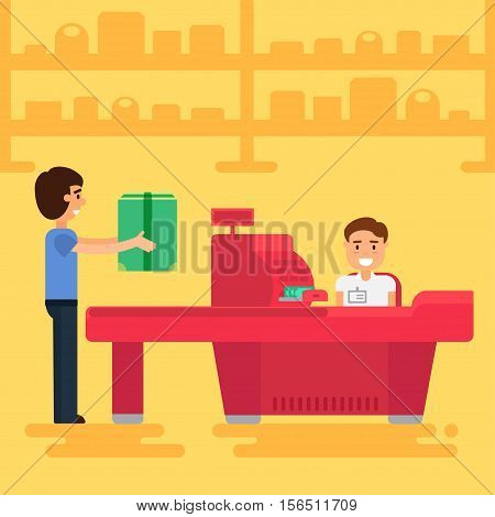 Store with customer and cashier near cash desk. Store or market retail interior. Shopping concept illustration. People are paying purchase. Vector