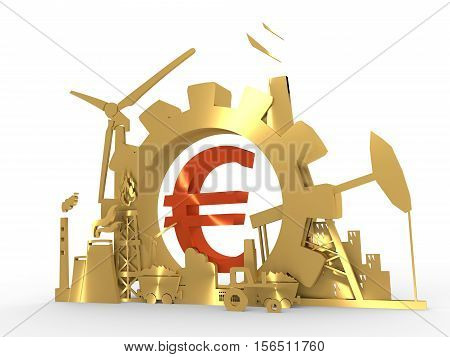 Energy and Power icons set with euro sign. Sustainable energy generation and heavy industry. 3D rendering. Golden material