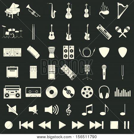 Musical instrument set, flat syle, vector illustration