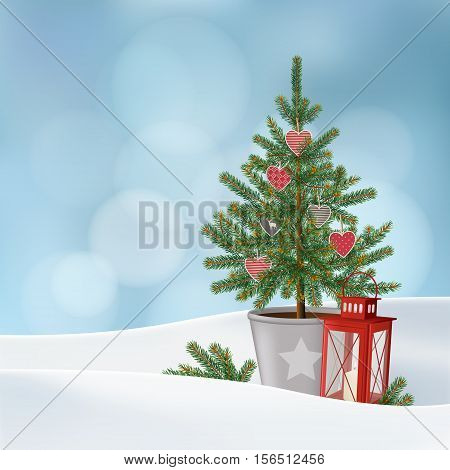 Retro vintage Christmas greeting card invitation. Snowy winter landscape with decorated fir spruce Christmas tree and red lantern. Vector illustration background with bokeh lights.