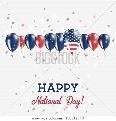 United States Independence Day Sparkling Patriotic Poster. Happy Independence Day Card With United S