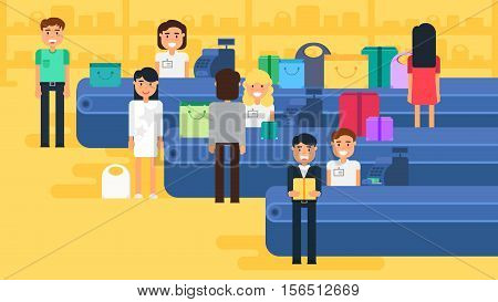 Store with customers crowd and cashier near cash desk. Store or market retail interior. Shopping concept illustration. People are paying purchase. Vector
