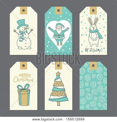 Christmas doodle stickers for decoration. Vector illustration