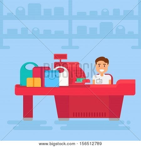 Store with cashier near cash desk. Store or market retail interior. Shopping concept illustration. Vector