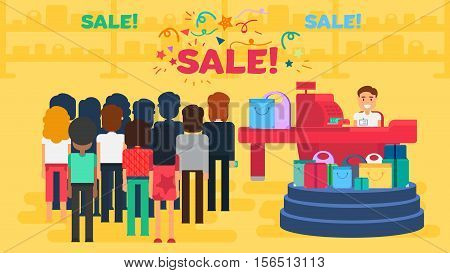 Store with customers crowd and cashier near cash desk. Store or market retail interior. Shopping concept illustration. People are paying purchase. Sale banner. Vector