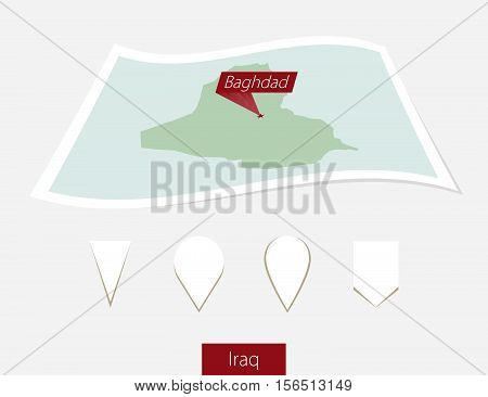 Curved Paper Map Of Iraq With Capital Baghdad On Gray Background. Four Different Map Pin Set.