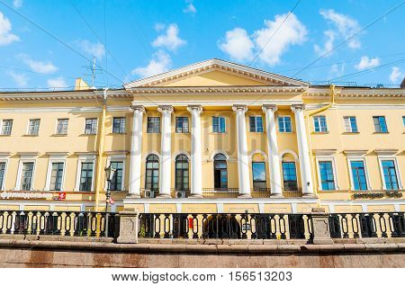 ST PETERSBURG RUSSIA-OCTOBER 3 2016. House of the Jesuit Order. An architectural monument apartment house built in 1801-1805 by the architect Luigi Rusca member of the Jesuit order