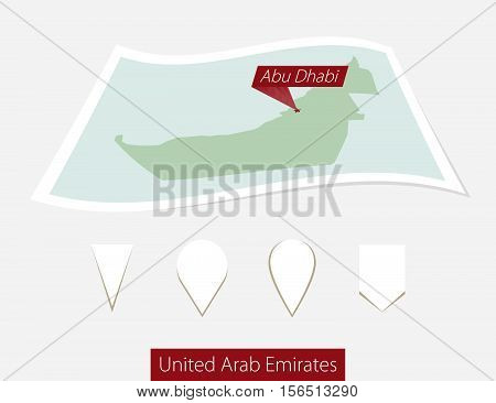 Curved Paper Map Of United Arab Emirates With Capital Abu Dhabi On Gray Background. Four Different M