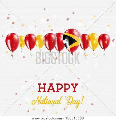 Timor-leste Independence Day Sparkling Patriotic Poster. Happy Independence Day Card With Timor-lest