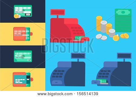 Cash register with money and coins. Commerce concept. Store symbol. Web Template Web Elements for site form of online shopping and enter card data. Vector
