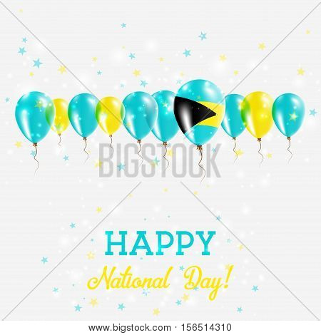 Bahamas Independence Day Sparkling Patriotic Poster. Happy Independence Day Card With Bahamas Flags,