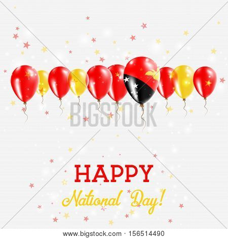 Papua New Guinea Independence Day Sparkling Patriotic Poster. Happy Independence Day Card With Papua