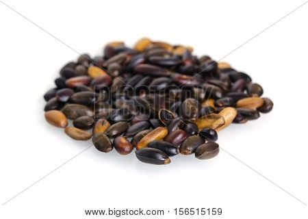 Heap Of Custard Apple Seeds Or Kernels Isolated On White