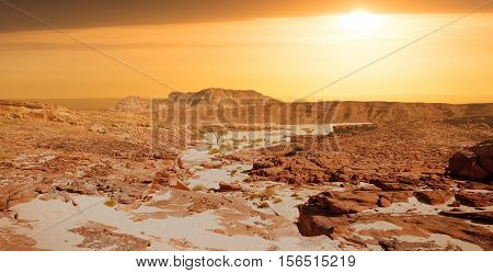 Egypt Sinai desert view Rocky hills on sunset