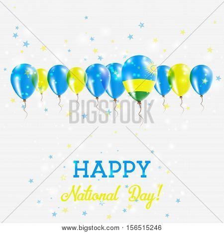 Rwanda Independence Day Sparkling Patriotic Poster. Happy Independence Day Card With Rwanda Flags, C