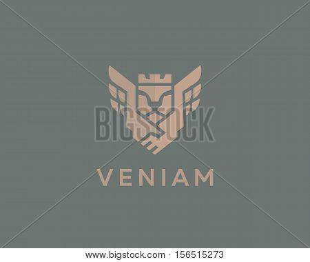 Lion king wings vector logotype. Handshake crown luxury logo design. Premium business symbol