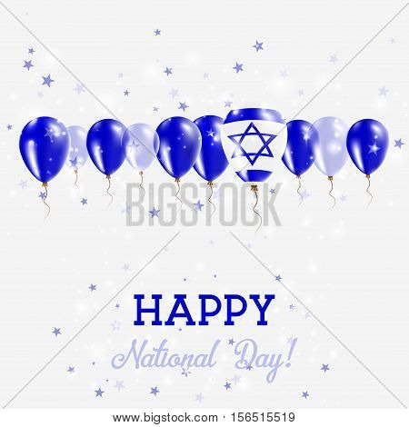 Israel Independence Day Sparkling Patriotic Poster. Happy Independence Day Card With Israel Flags, C