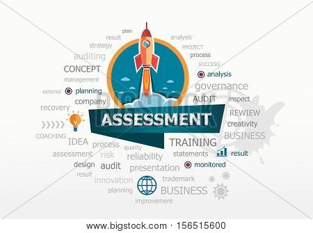 The Word Cloud Assessment Concept On Background With Rocket.