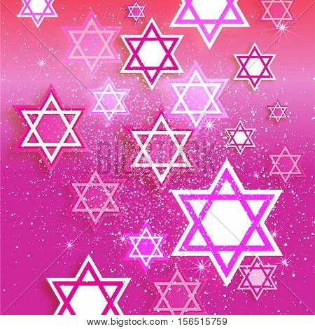 Magen David stars. Papercraft jewish holiday simbol on pink background. Vector design illustration