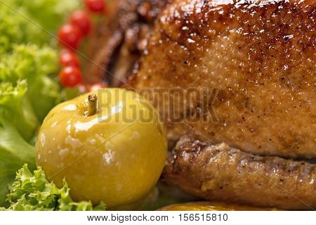 Baked young duck with vegetables on the green lettuce leaves