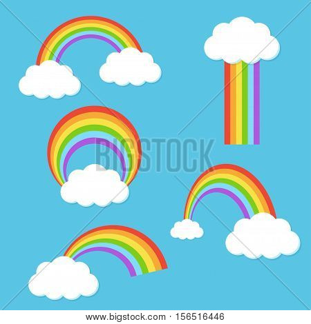 Rainbow with clouds vector set in a flat style. Rainbow in the sky collection of icons isolated from the background. Rainbow in different forms.