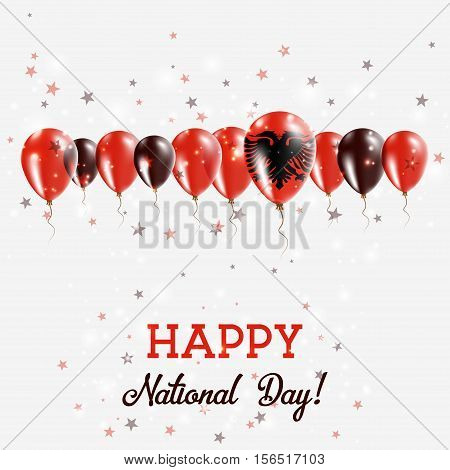 Albania Independence Day Sparkling Patriotic Poster. Happy Independence Day Card With Albania Flags,