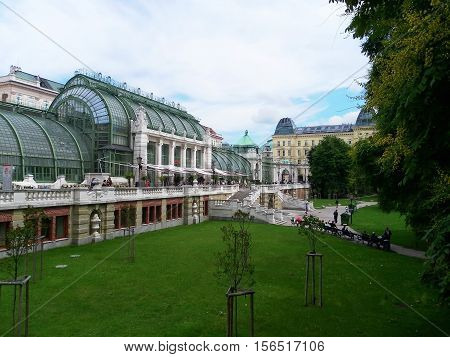 Vienna attractions. The greenhouse for the cultivation of palm trees. Burggarten Park