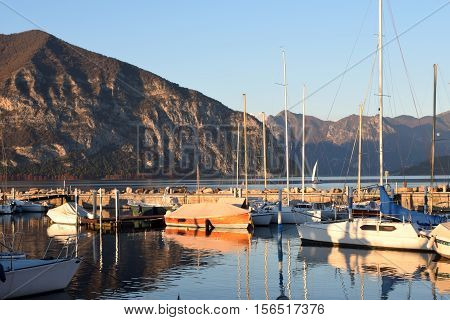 A small marina on Lake Iseo in the province of Brescia-Italy