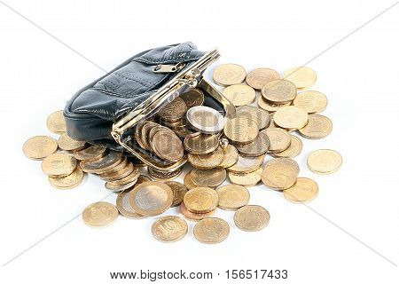 Black leather wallet and metal coins as part of the Russian Economy and Trade