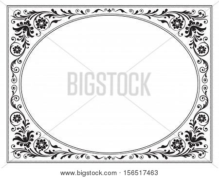 Oval ornate black frame with floral pattern. Old Russian style.