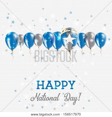 Northern Mariana Islands Independence Day Sparkling Patriotic Poster. Happy Independence Day Card Wi