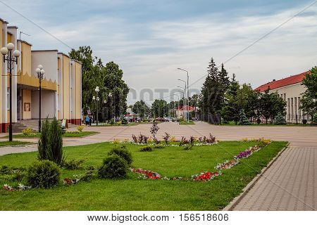 TOMAROVKA BELGOROD REGION RUSSIA - JUNE 11 2016: Village Tomarovka Belgorod region. Russian province. Typical provincial land improvement Russian countryside and small towns.