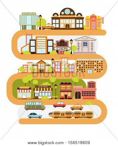 City Infrastructure And All The Urban Buildings Lined With The Curved Orange Line In Graphic Vector Illustration. Modern Town Architecture and Common Services Separated In Blocks One On Top Of Another.