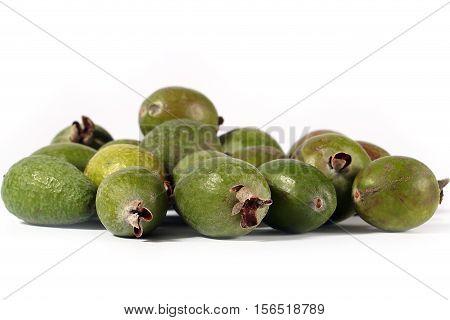 pile of ripe fresh tropical fruit feijoa prepared for eating