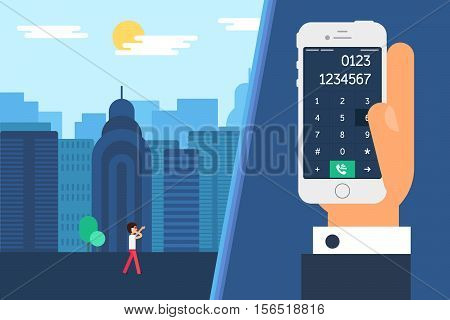 Social City Life with Smartphone Dial. Daily city human with telephone in hand and smartphone screen with number in separate window in flat minimalistic style. Vector